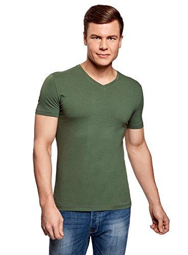 oodji Ultra Herren T-Shirt Basic (3er-Pack), Mehrfarbig, L