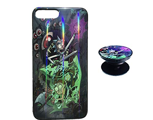 Rick and Morty Case for iPhone 7 8 Protective Case Aurora Color Soft TPU Compatible iPhone Cover with Phone Holder Bracket