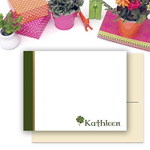 Four Leaf Clover Celtic Personalized Stationery/flat or folded Notecards with Envelopes