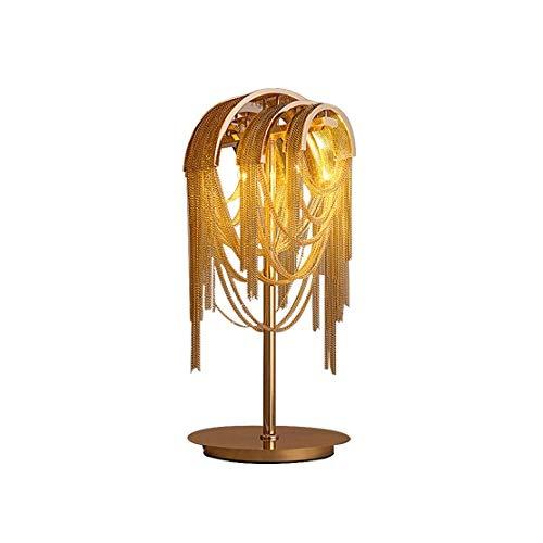 JJZXD Cadena de Oro Retro Tablas de Colores de luz Fixture Cadena de Aluminio lámpara de Escritorio de luz de la Noche Dormitorio Salón Hotel Table Lustre