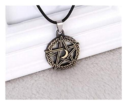 FKJSP 1 PCS Pentagram Tree Of Life Moon Pendant Necklace Crescent Rope Chain Protection Star Goddess Magic Supernatural Amulet Jewelry (Color : Antique gold, Size : 50cm)