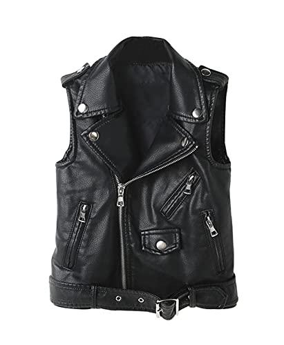 YoungSoul Chaleco de Piel Sintetico para Mujer - Cazadoras sin Mangas de Motorista - Chaquetas de imitación Cuero Negro EU 40 (Ropa)