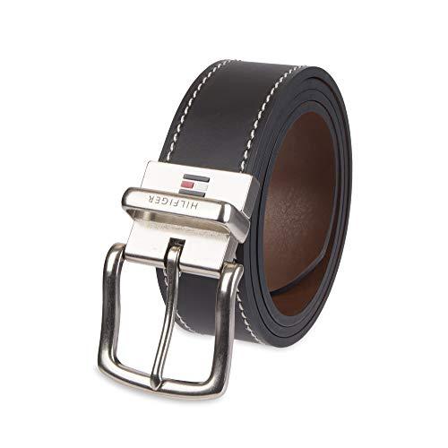 Tommy Hilfiger Men's Reversible Belt, Black/Brown Stitch, 36