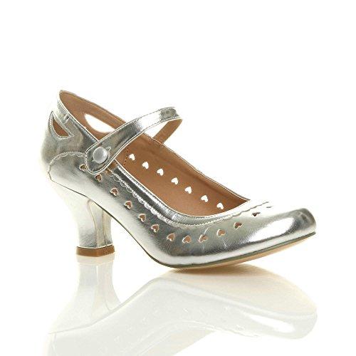 Womens dames lage midden hak Mary Jane riem werk klassieke vintage uitgesneden hart Hof schoenen pompen grootte