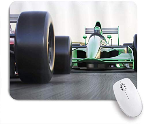 Dekoratives Gaming-Mauspad,Autos Sport Thema Indy Autos auf einer Asphaltstraße mit Motion Blur Formula Race Print,Bürocomputer-Mausmatte mit rutschfester Gummibasis
