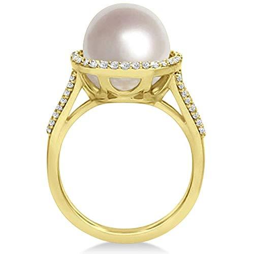 Perla cultivada del sur y anillo de halo de diamante 14k oro amarillo (11mm), anillo de compromiso de oro amarillo para siempre, anillo de bodas, anillo de la promesa