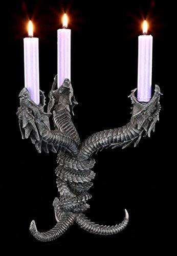Drachen Kerzenhalter Gothic - Hydra - Drachenfigur Deko Gothic Figuren Kerzenständer