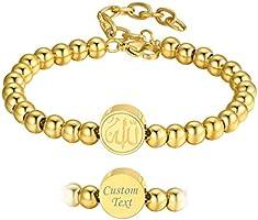 PROSTEEL Armband mit Allah Charms für Damen Herren Edelstahl/18k vergoldet/schwarz verstellbare Charm-Armband Islam...