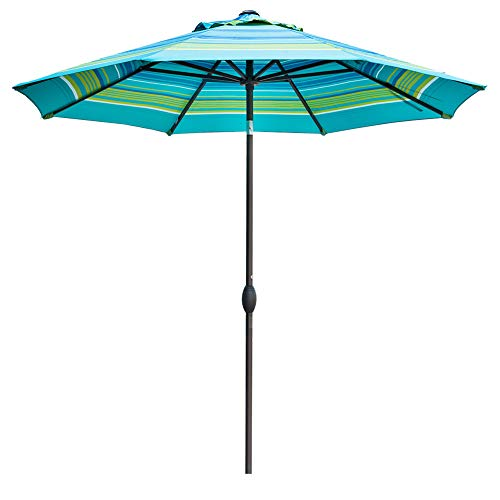 Abba Patio 9 Feet Patio Umbrella Market Outdoor Table Umbrella with Auto Tilt and Crank (Turquoise Striped)