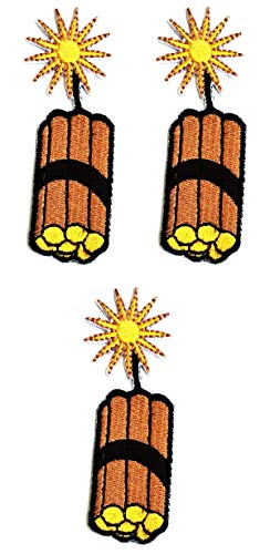 Umama Patch Set of 3 Bomb Nuclear Cartoon Sticker Fabric Cute Bomb Iron On Embroidered Patches Appliques Machine Embroidery Needle Craft Projects Boys Girls Kids DIY