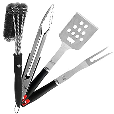 Valdohome Heavy Duty BBQ Grill Tool Set Stainless Steel Utensils Kit Locking Tongs, Spatula, Fork, Barbecue Grill Cleaning Brush - Barbecue Grilling Accessories