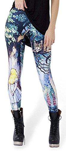 Alive Leggins ajustados para mujer, diseño de unicornio, arco iris, talla única (gato de Cheshire)