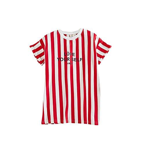 Gyratedream Zomer Casual Fashion Baby Meisjes Gestreepte print shirt met korte mouwen kinderkleding 3-8 jaar kinderen blousejurk Medium rood