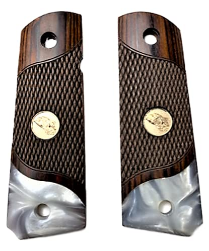 Premium Gun Grips Compatible Replacement for 1911 Grips Full Size Double Diamond Checkered Rosewood Faux Pearl w/Eagle Medallion