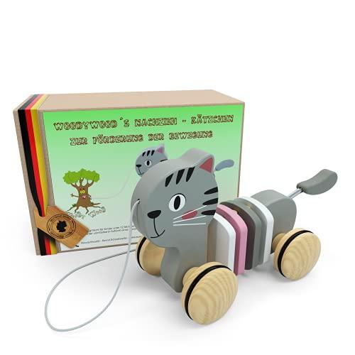 WoodyWood® Nachziehspielzeug Katze, Holzspielzeug für Babys und Kinder, Kinderspielzeug ab 1 Jahr zum Ziehen, Schieben, Spielen, Nachziehtier zur Förderung der Bewegung & Motorik (Katze)