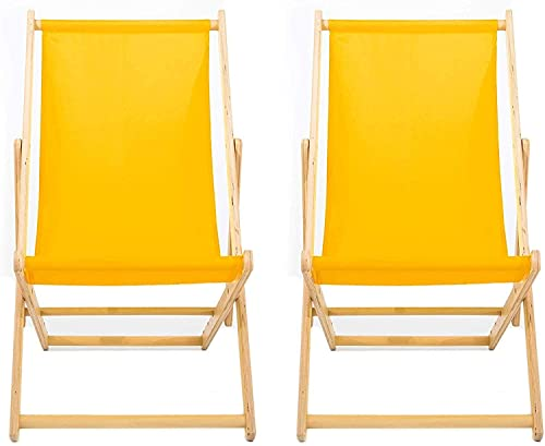 Reclinador Amarillo Listo para Usar   Reclinador De Madera   Hamaca De La Playa De Verano   Asiento del Jardín   Reclinador Plegable Tradicional Ajustable Portátil