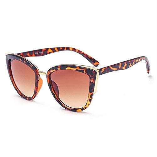 FDNFG Vendimia de la Manera Mujeres Gradiente Femenino Eyewear UV400 Gafas Retro sobredimensionar Herramienta de Ojo de Gato Gafas de Sol de Cuidado de los Ojos para Gafas de Sol (Color : Leopard)