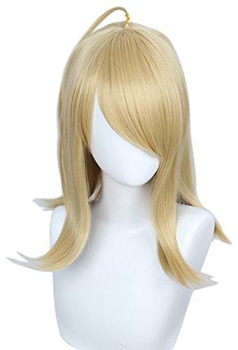 Linfairy Medium Long Blonde Cosplay Wig Halloween Costume Straight Wig for Women