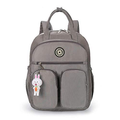 youwu backpack Women Backpack Ladies Rucksack Waterproof Nylon School bags Anti-theft Daypack Shoulder Bags-light grey_16 inch