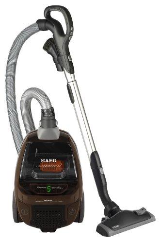 AEG Ultra Performer Deluxe, sin bolsa, tecnología CYCLONE, LED Panel de control con mando a distancia, 2100W, boquilla para suelo AeroPro, filtro higiénico, 3en 1–Boquilla combinada