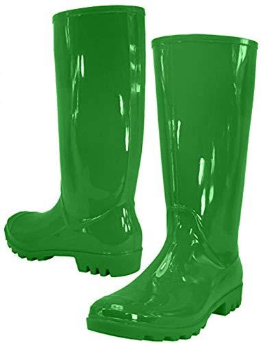 Rain Boots, Waterproof Shoes, Rubber Boots (7, Green)