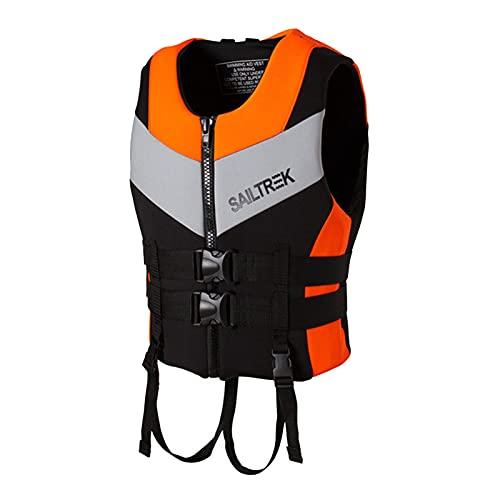 RUBAPOSM Chaleco Salvavidas Adulto - Chaleco Salvavidas de Neopreno, Chaleco de Flotabilidad Sólido para Adultos Chaleco de Seguridad de Ayuda a la Flotabilidad de Kayak,Naranja,XL