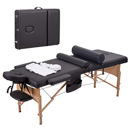 Massage Table Massage Bed 3 Fold 84 Inch Massage Table Spa Bed Height Adjustable Lash Bed Portable Facial Table Esthetician table Sheet Cradle Cover 2 Bolster Hanger With Carry Case