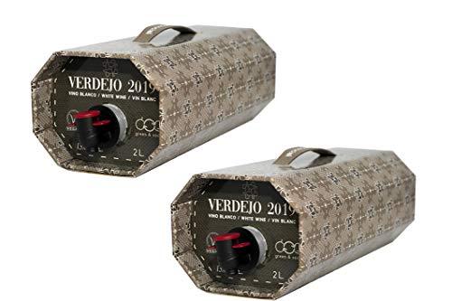 Cuatro Rayas Vino Blanco Verdejo en Bag in Box - 2 Bag in Box de 2 Lt (2000 ml) - Total 4 Lt (4000 ml)