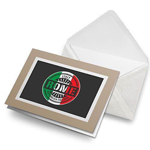 Awesome Greeting Cards Biege (inserto) - Tarjeta de felicitación de viaje con bandera italiana de Roma, tarjeta de felicitación en blanco, cumpleaños para niños y niñas #6106