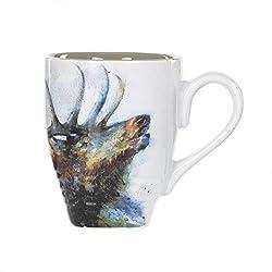 DEMDACO Dean Crouser Watercolor 16 Ounce Glossy Stoneware Animal Mug with Easy Grip Handle