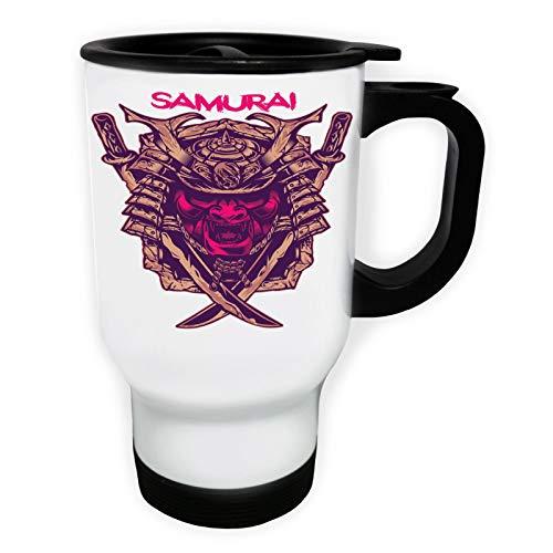 Samurai in Pink Tasse de voyage thermique blanche 14oz 400ml ff808tw