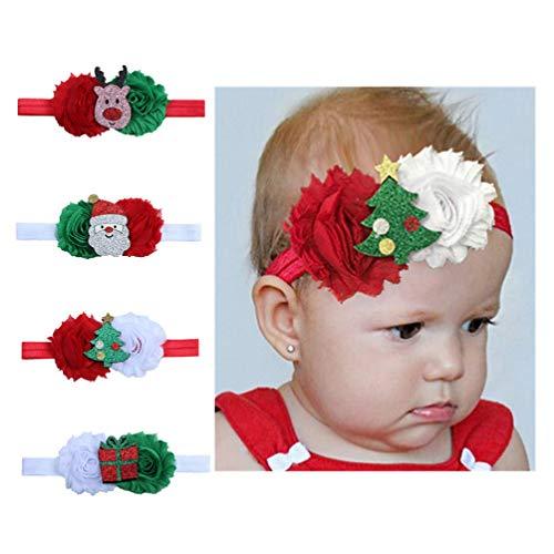 Toyvian 4 Piezas Diademas Navideñas para Niñas Diademas Elásticas de Flores Navideñas de Navidad para Bebés
