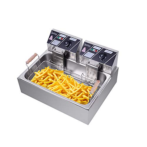 XDD Electric Deep Fryer w/Basket & Lid, Countertop Kitchen Frying Machine, Stainless Steel French Fryer for Turkey, French Fries, Donuts and More, 2.5KW (6L)