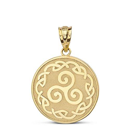 Solid 14k Yellow Gold Triskele Triskelion Triple Spiral Celtic Knot Disc Charm Pendant