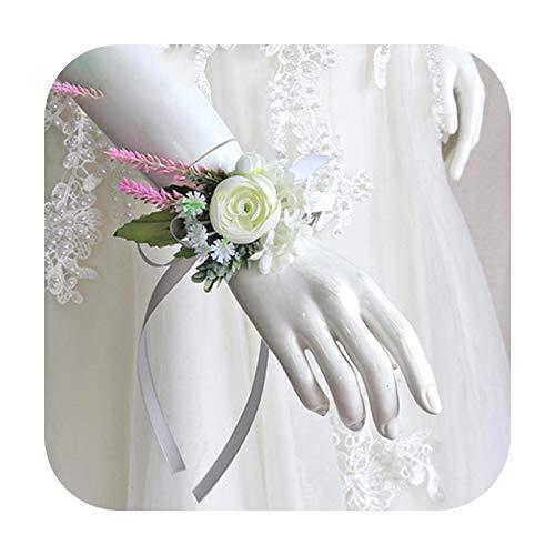Art Flower Pulsera de ramillete de la muñeca de la boda de las damas de honor Flores de seda del novio Boutonniere Pin de los hombres rosas blancas de la boda ramillete accesorios-A muñeca flores