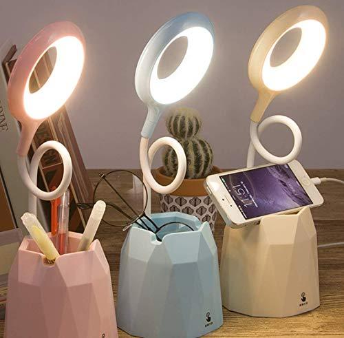 LED Tischlampe Stifthalter Schreibtischlampe wiederaufladbare USB-Leselampe, Berührungssensorschalter, dimmbare Kinderlampe mit Stifthalter, Augenschutz-Nachtlicht, Nachttischlampe (Rosa)