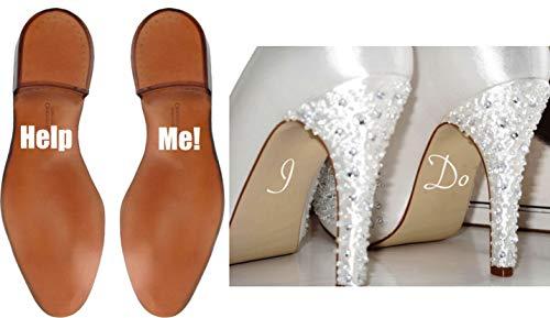 Zapatos De Boda Set De Pegatinas Help Me y I Do boda Divertido Blanco pegatinas