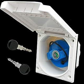 Einfüllstutzen Wasser Außensteckdose Frischwassertank Tankdeckel Wohnwagen Wohnmobil mit Schloss Weiss 40 mm Raute
