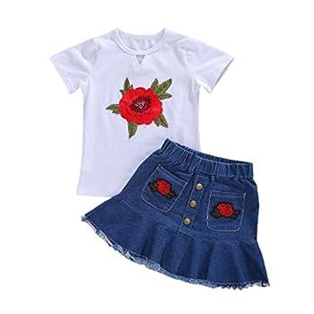LXXIASHI 2PCS Toddler Baby Girl Denim Skirt Set Short Sleeve T-Shirt Top + A-Line Button Skirt Outfits  Short Sleeve T Shirts - Embroidery Rose 6-7 Years