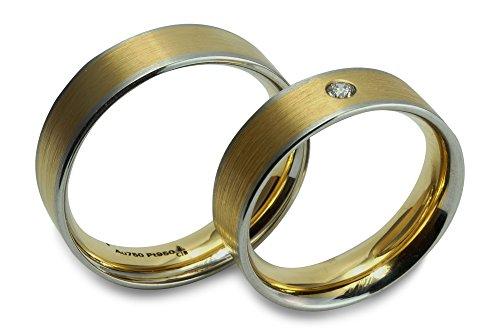 Christian Bauer Trauring Ehering Verlobungsring 950 Platin 750 Gelbgold 18 ct matt Streifen Damenring mit Brillant 0,050 ct Größe 54 R06-A0066