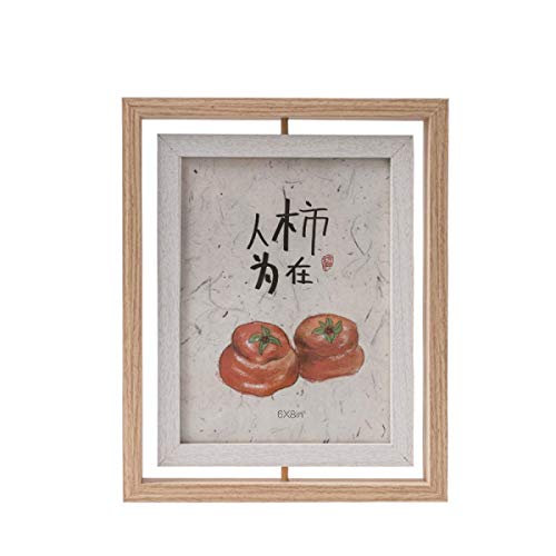 ZPF Double-Sided Rotating Photo Frame, Creative Personality Art Photo Frame, Retro Wood Grain,with High Difinition Glass for Tabletop or Wall Decor