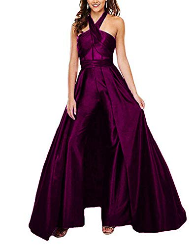 VeraQueen Women's Halter Sleeveless Prom Dresses Jumpsuit Satin Backless Sweep Train Pants Suits Evening Gowns Fuchsia
