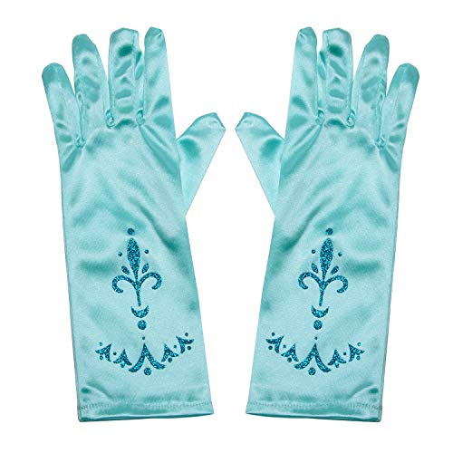 Little Girls Princess Gloves(Solid Color Long Elbow Length) For Birthday,Wedding,Holiday,Costume Party(Blue)