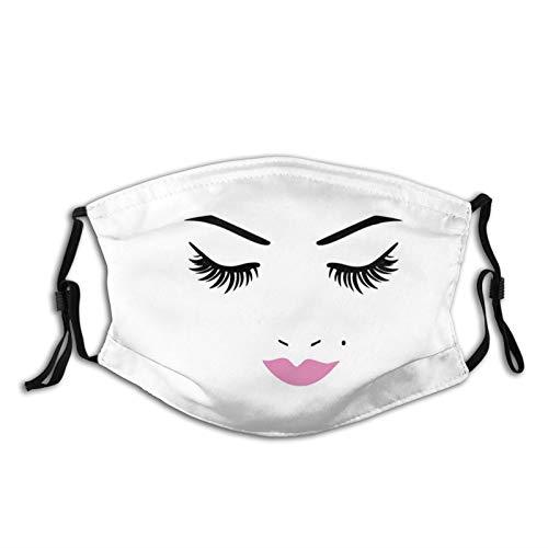 Pasamontañas, protector facial de algodón, para hombres y mujeres, 5 capas, reutilizable, lavable, con 2 filtros, ojos cerrados, color rosa, lápiz labial glamuroso, maquillaje #1