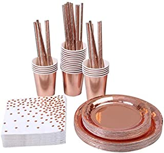 146 pcs Rose Gold Party Supplies Party Tableware Foil Paper Plates Napkins Cups Straws Weddings Anniversary Birthday (Rose...