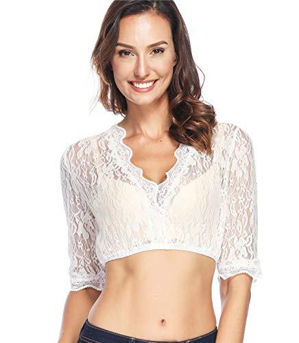Lever Lever Damen Dirndl Spitzenbluse Dirndlbluse Spitze Dirndl Bluse Weiß Baumwolle Trachten Bluse 38 Herstellergröße M