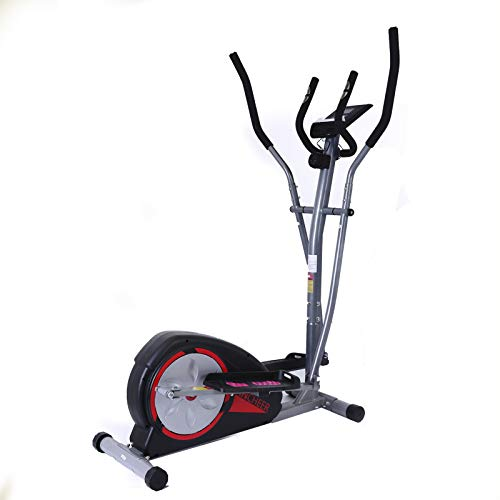 FUNMILY Elliptical Machine for Home Use, Cross Trainer with LCD Monitor & 8 Level Magnetic Resistance, LCD Monitor and Pulse Rate Grips, Heavy Duty Flywheel for Cardio Training Workout(Gray)