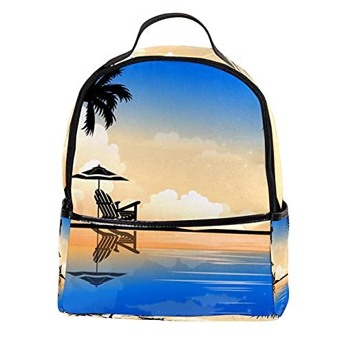 KAMEARI Mochila hermosa Palm Summer Coconut Tree Casual Daypack para viajar con bolsillos laterales para botella