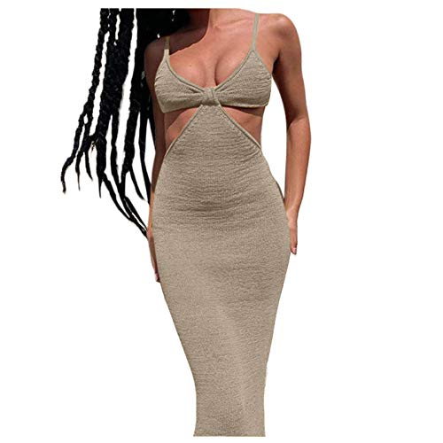 Liably Women's Elegant Temperament Slim Sexy Evening Sling Skirt Summer Backless Mermaid Cocktail Dress Festive Party Club Casual Evening Dress - Green - Large