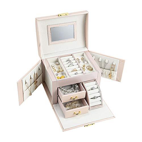 ASDMRQ Caja de joyería, caja de joyería de cuero de gran capacidad, caja de almacenamiento de joyería tipo cajón, pendientes collar caja de almacenamiento de joyería